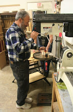 Photo: Paul Wodiska drills the halved blanks on a drill press...