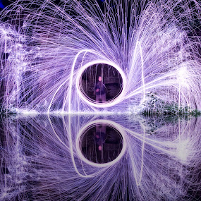 Spark Falls by Don Alexander Lumsden - Abstract Light Painting ( circle, pwc79, fireworks, fire, new year, dipawali, diwali, 2014, Steel wool, Steel Wool, Fire, Sparks )