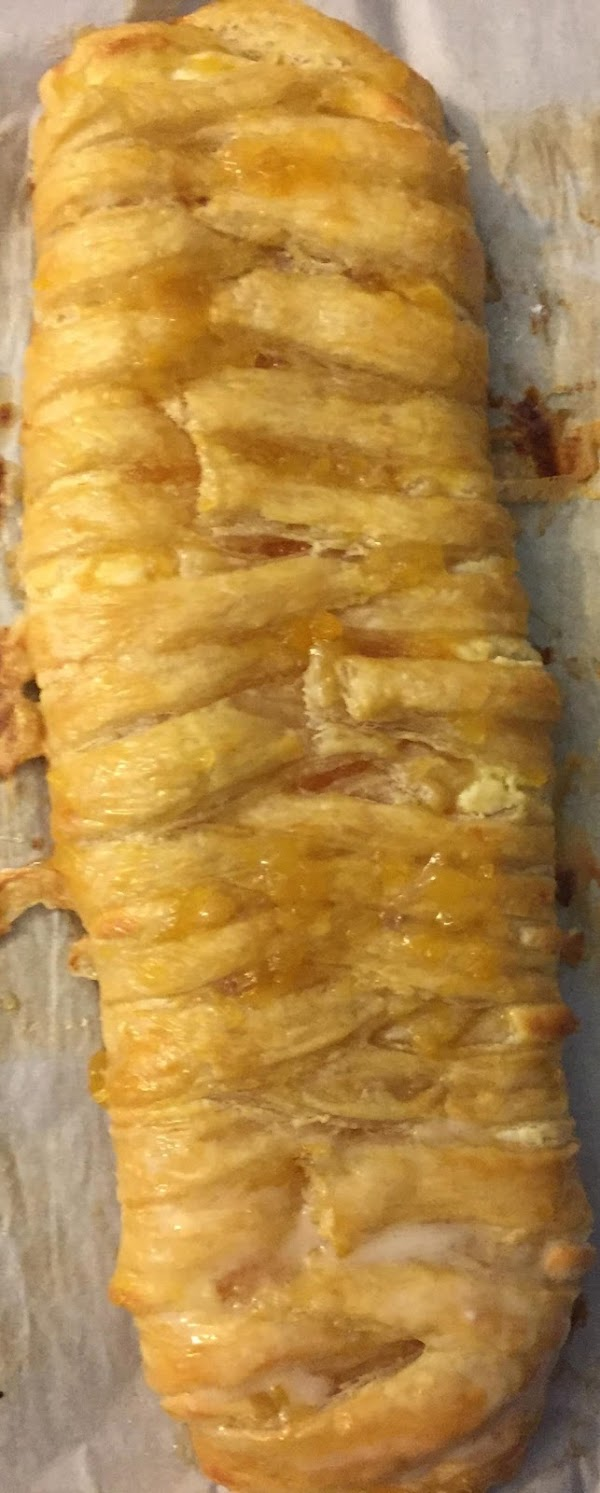 Mix ingredients together for glaze until smooth.  Brush glaze over pastry. Sprinkle with...