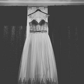Bride dress by Tiberiu Stefan  Simion - Wedding Getting Ready ( love, black and white, wedding, dress, beautiful, white, her, specialday, bride, black )