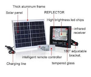 Proiector 100W, 196 LED, cu panou solar si telecomanda