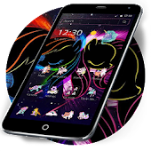 Black Neon Unicorn Theme Android APK Download Free By Abby Theme Center