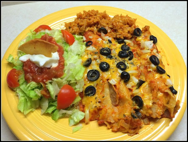 Remove from oven and serve with some yummy Spanish rice & a small salad...
