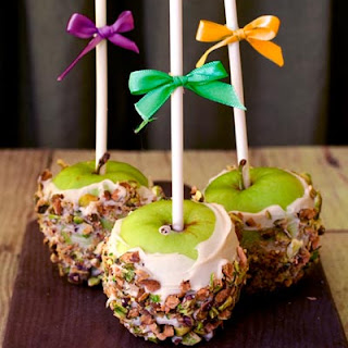 Vegan White Chocolate & Pistachio Candied Apples