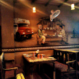 A local restaurant wall by Vivek Sharma - Instagram & Mobile Android ( vivekclix, mobilography, painting, restaurant, wall art, mobile, dark, mobile photos, wall, low light )