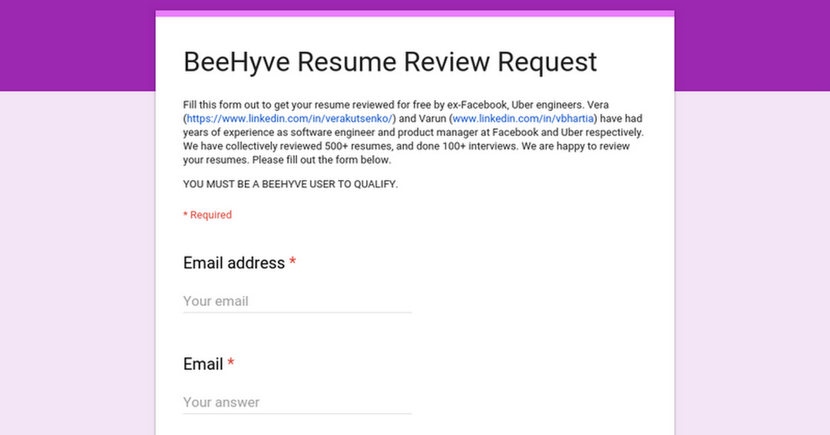 beehyve free resume reviews by ex uber facebook engineer pm