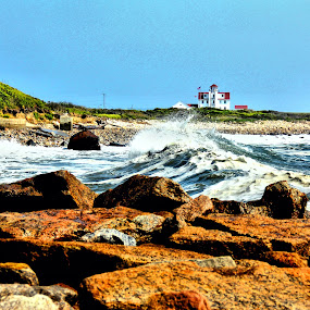 Point Judith RI by Richard Moyen - Landscapes Waterscapes ( light house, sea, beach, rocks, salt )