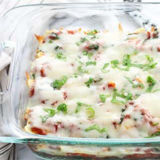 Baked Ravioli with Spinach and Mozzarella.