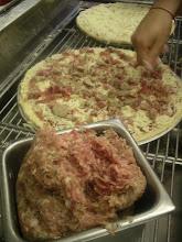 Photo: Our most special featured topping at Pinos Pizza:  Hand-pulled raw Italian pork sausage with fennel seeds.  Its fresh and savoryyyy!!