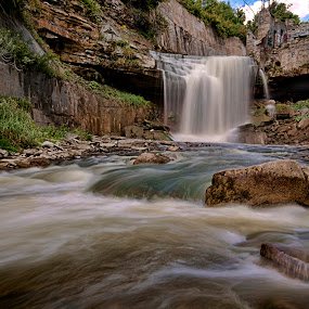 Cataract Falls.  by Carl Chalupa - Landscapes Waterscapes ( waterfalls, cataract on., falls, cataract, cataract falls,  )