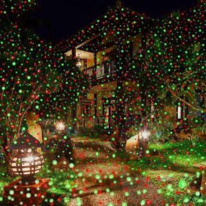 Proiector cu lumini verzi si rosii pentru exteriorul casei
