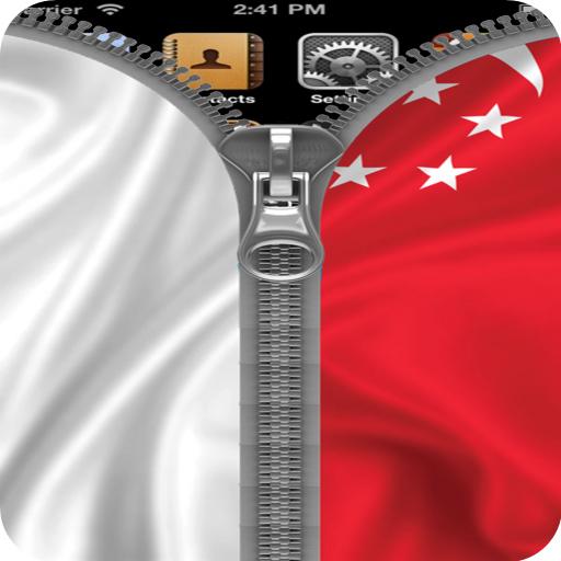 Singapore flag Zipper lock