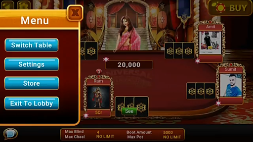 Universal Teen Patti - Indian Poker Game  captures d'écran 4