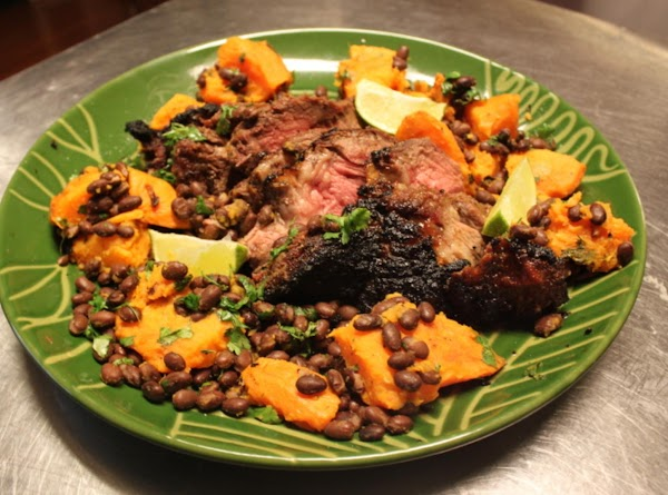 Cuban Grilled Chuck Beef Roast With Grilled Sweet Potatoes And Black Beans Recipe