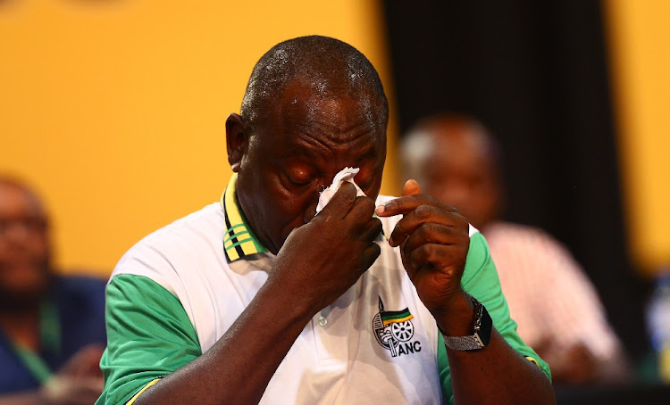 Relief: A teary-eyed Deputy President Cyril Ramaphosa at the Nasrec Expo Centre on Monday after winning a bruising race for the ANC presidency that exposed deep rifts in the governing party. Picture: MASI LOSI