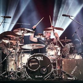 drummer by Paweł Mielko - People Musicians & Entertainers ( rock, nikon, concerts, music, drum, concert, drums, rock music, drummer )
