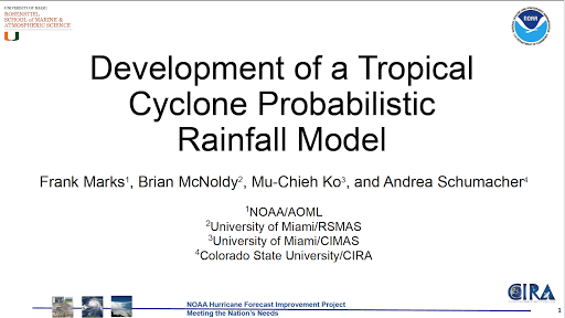 Frank Marks presents seminar on a new model to predict rainfall in tropical cyclones to NOAA's Weather Pr4diction Center