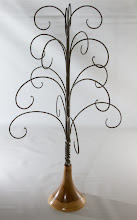"Photo: Tom Coker 13"" x 23"" hand forged ornament stand [iron, wood]"