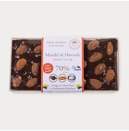 Mörk choklad sockerfri 70% med Mandel & Havssalt
