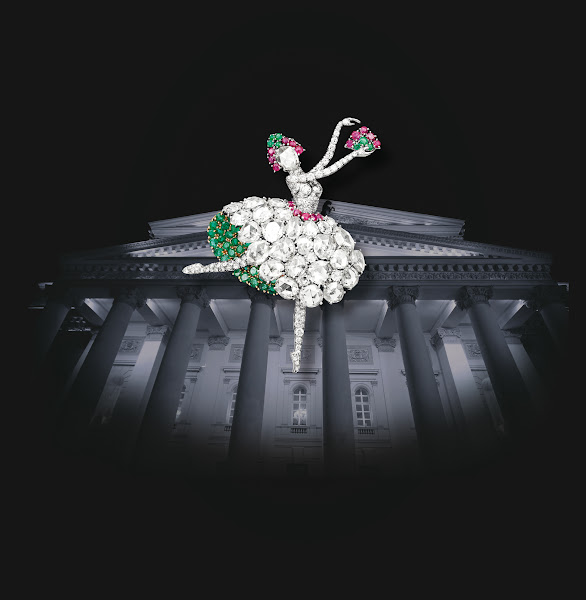 """Photo: Van Cleef & Arpels, traditionally inspired by the world of dance and ballet, will join from May 5th to 10th 2012 the famous Bolshoi Theater in Moscow for five performances of """"Jewels"""", the ballet by George Balanchine, inspired by the creations of the Maison. On this occasion, discover exceptional stories and pieces until May 10th."""