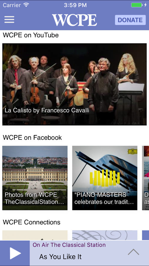 WCPE The Classical Station App (ekrano kopija)