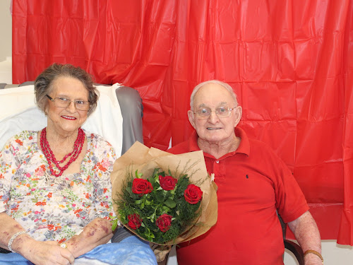 LOVE REIGNS SUPREME: Adrienne and Adrian Collett celebrate Valentine's Day at Whiddon Group Jessie Hunt yesterday.