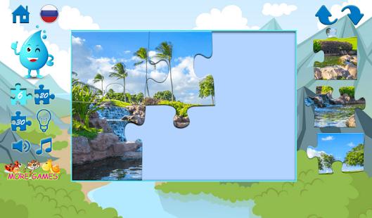 Puzzle vodopády - náhled