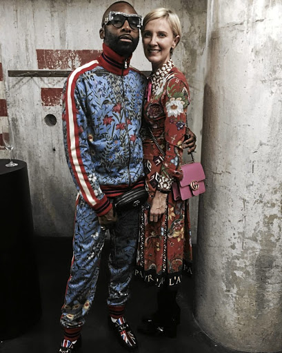 Ricky Rick and Elena Brundyn dress in Gucci at the fashion house's party at the opening of Zeitz MOCAA in Cape Town.