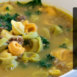 Sausage Potato and Kale Soup with Tortellini