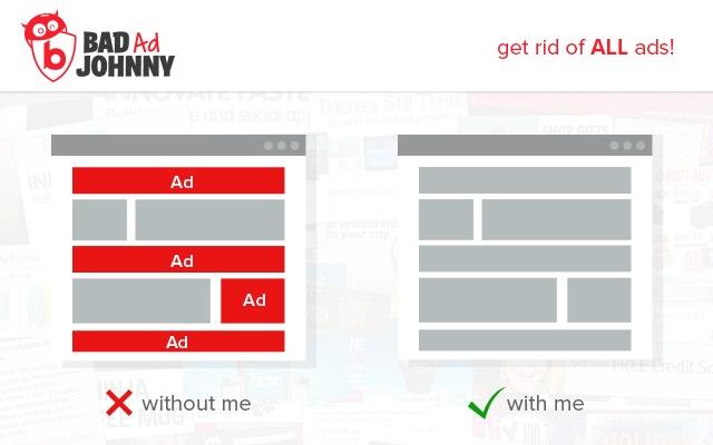 Bad Ad Johnny: AdBlocker & Swag chrome extension