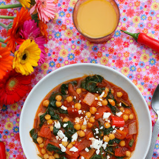 Chickpea, Tomato, Spinach and Feta Soup