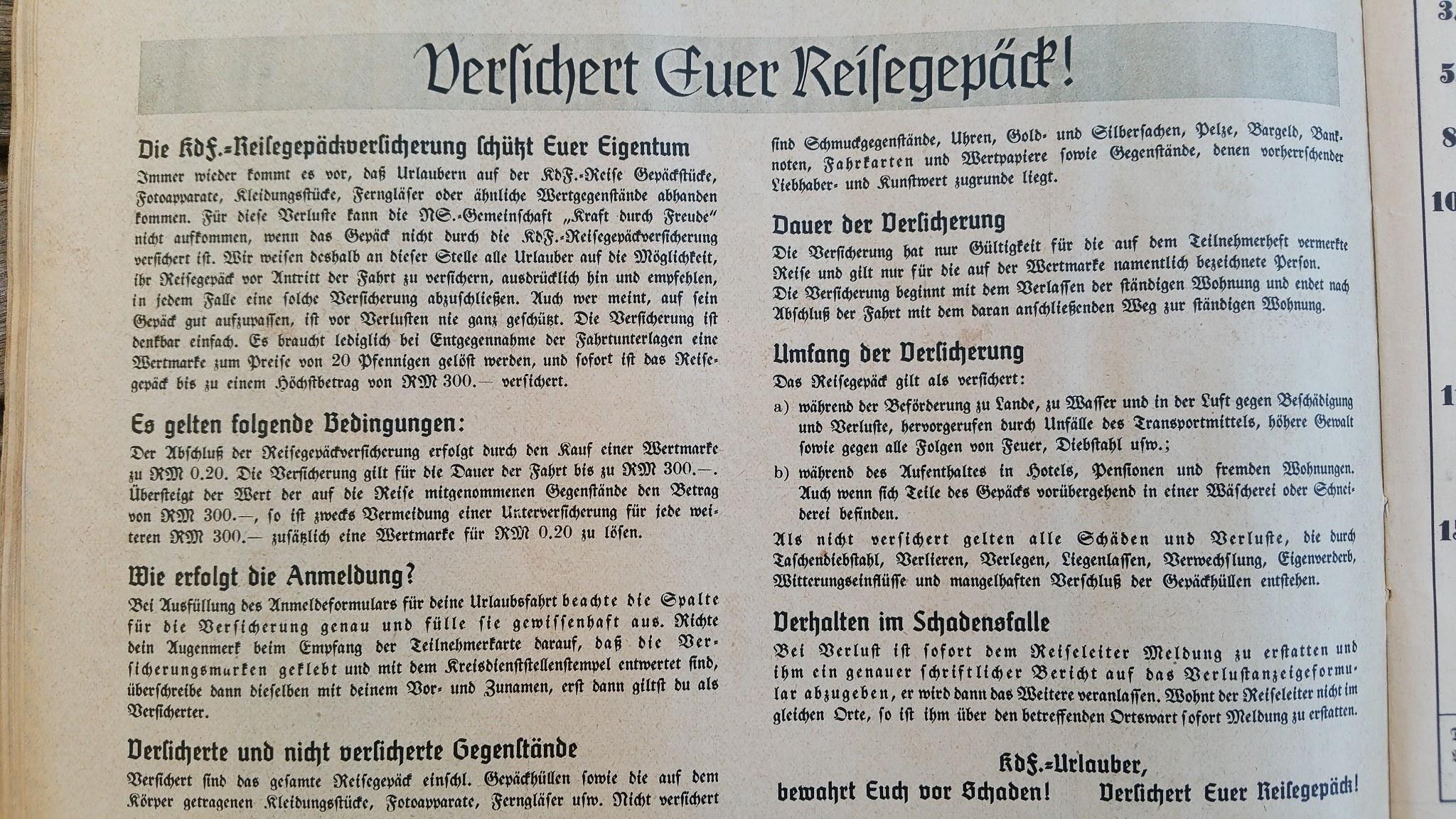 """Die Deutsche Arbeitsfront - Urlaubsfahrten 1939 - NS-Gemeinschaft """"Kraft durch Freude"""" Gau Sachsen - Katalog"""