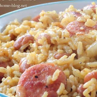 Beans and Rice with Smokey Kielbasa.