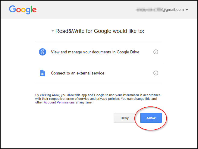 Read&Write for Google Chrome Google Allow Permissions
