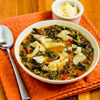 Slow Cooker Vegetarian Cannellini Bean and Kale Soup Recipe with Shaved Parmesan (Can Freeze)