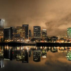Portland, Oregon Skyline by Tom Reiman - Buildings & Architecture Other Exteriors ( oregon, foggy, skyline, portland, night, evening, river )