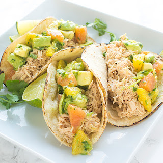 Chicken Tacos with Avocado Citrus Salsa.