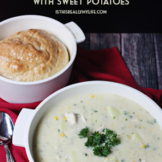 Creamy Chicken & Corn Chowder with Sweet Potatoes