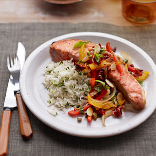 Salmon Steaks with Tricolor Pepper Relish