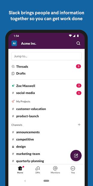 Slack Android App Screenshot