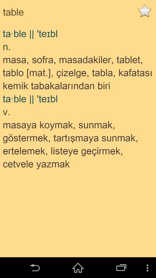 English Turkish Dictionary - screenshot