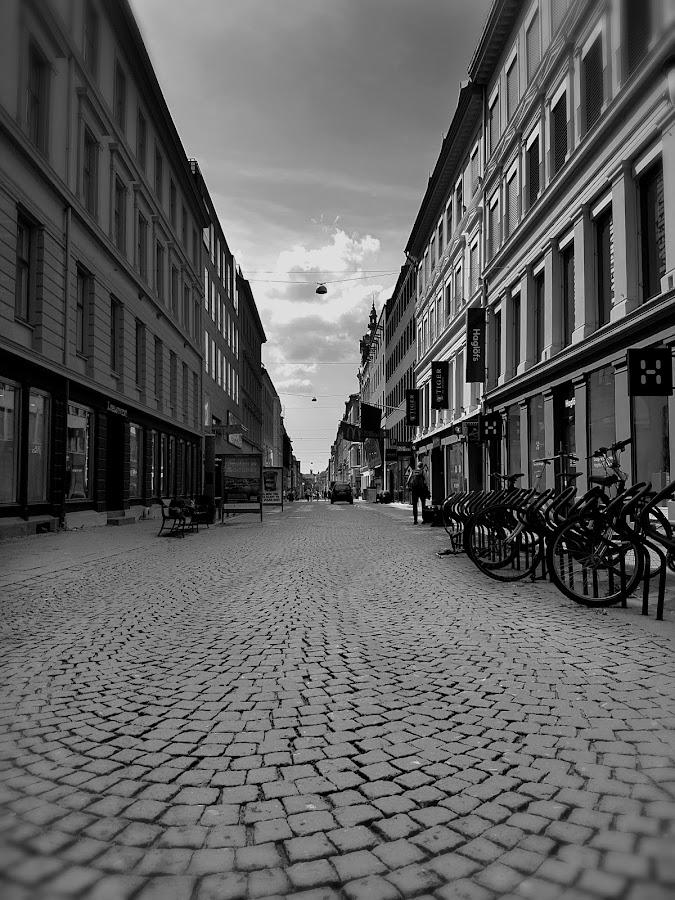 Street view by Elisabeth Sjåvik Monsen - City,  Street & Park  Street Scenes ( oslo, town, city, street scene, bw, street, norway, cityscape, black and white, street photography,  )