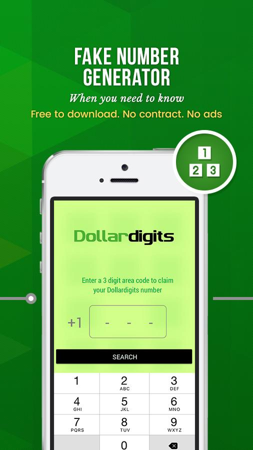 Dollar Digits Calling Text Second Phone Number App- screenshot