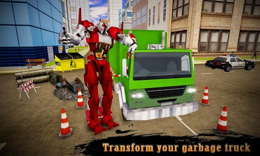 Real Robot Transformation Garbage Truck Driving 3D 4