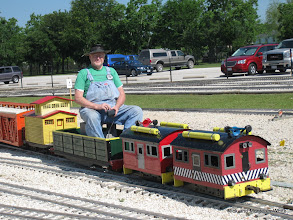 Photo: Bob Sanford with his narrow gauge electric box cabs, which are for sale.  HALS-SLWS 2009-0522