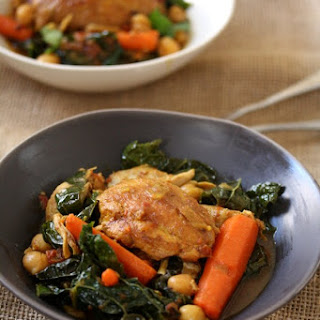 Moroccan Chicken Tagine with Carrots, Chickpeas, and Kale.