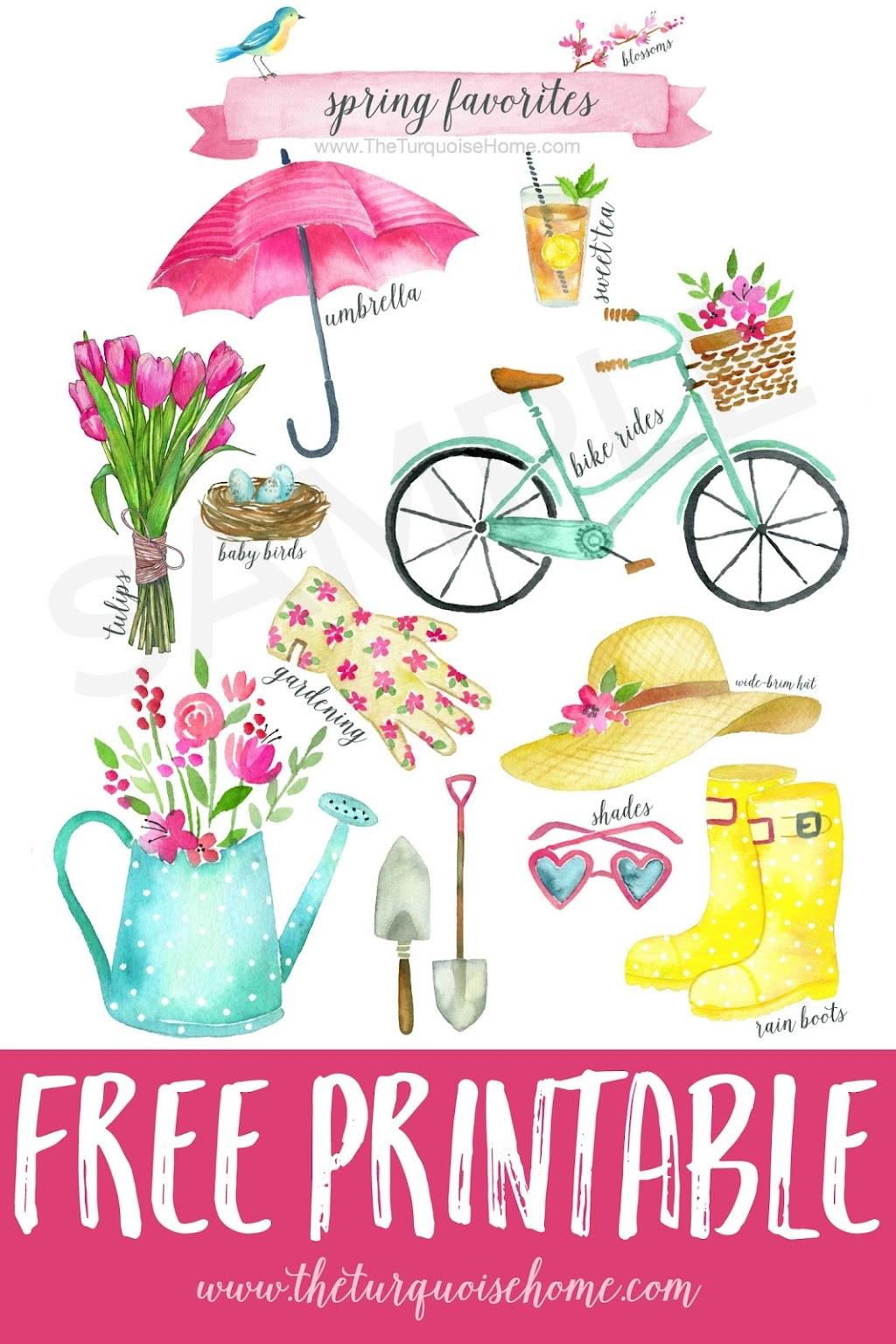 Spring Favorites Free Printable