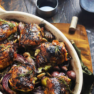 Balsamic-Red Wine Roasted Chicken Thighs and Vegetables.