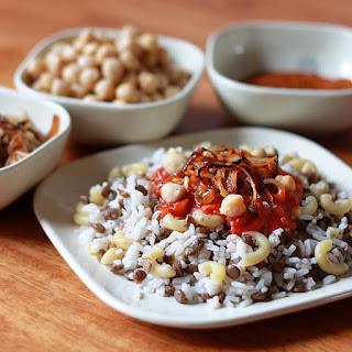 Koshari (Egyptian Rice, Lentils and Macaroni with Spicy Tomato Chile Sauce).