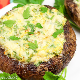 Lightened Up 3 Cheese & Spinach Stuffed Portobello Mushroom Caps.